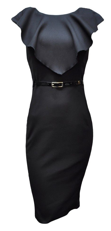 love the cape-like drape in the front (and the belt)  -- Vintage Little Black Dress