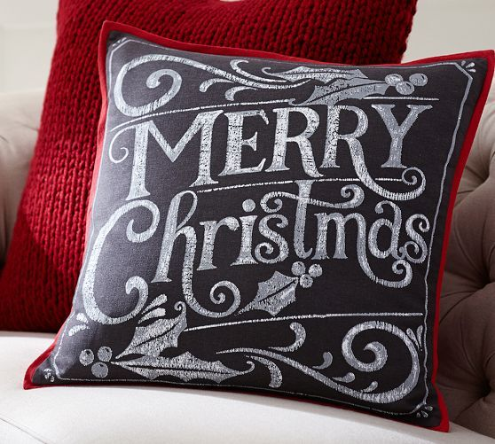 Merry Christmas Pillow Cover   Pottery Barn $30