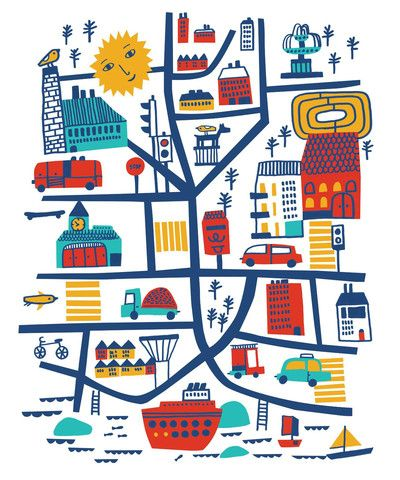 Reka Kiraly: One Day, Ideas For Illustrations Maps, Illustrations Maps Kids, Gifts Ideas, Réka Királi, Art, Colors Palettes, The Cities, Reka Kirali