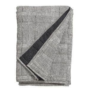 Plaid couvre-lit en coton rayé imprimé noir et blanc Nordal