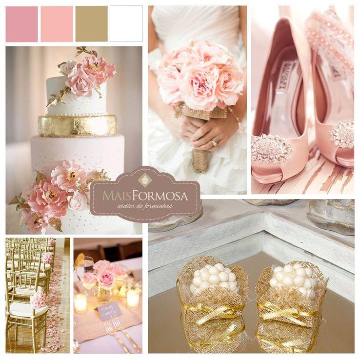 Sugestão de Cores : Decoração CASAMENTOS (rosa, dourado e branco)  LOJA VIRTUAL - http://www.elo7.com.br/caixeta-caramelobrilho-cl005-l-50un/dp/4624E8