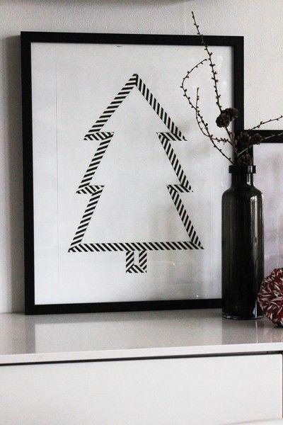 Créez des oeuvres d'art avec du simple ruban adhésif à motif (#washitape) et un cadre. Une déco qui peut changer au fil des saisons!