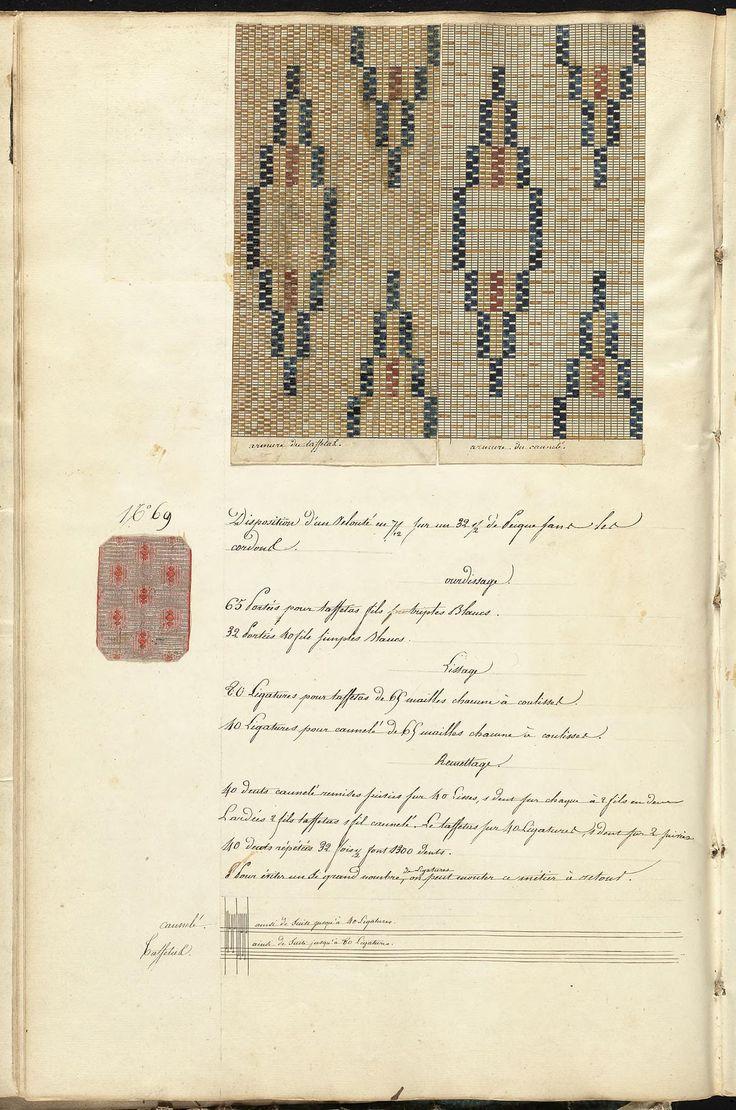 """""""De la fabrique d'étoffes"""", 1842, the Mary Ann Beinecke Decorative Art Collection. Sterling and Francine Clark Art Institute Library. papier millimétré"""