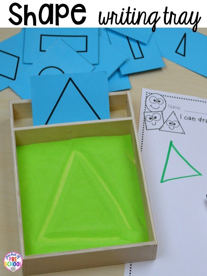 Shape writing tray plus more 2D Shapes activities for preschool, pre-k, and kindergarten. Shape mats (legos, geoboards, etc), play dough mats, posters, sorting mats, worksheets, & MORE.