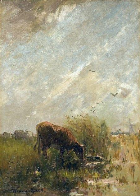 Willem Maris (Den Haag 1844-1910) Drinkende koe - Kunsthandel Simonis en Buunk, Ede (Nederland).