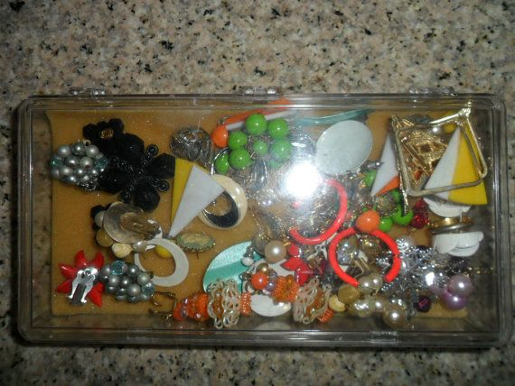 Box of Vintage Costume Jewelry by PandBTreasures on Etsy, $6.00