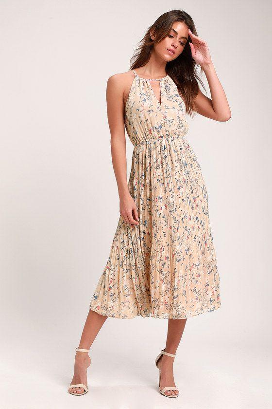 Lulus | Beat of the Music Beige Floral Print Pleated Midi Dress