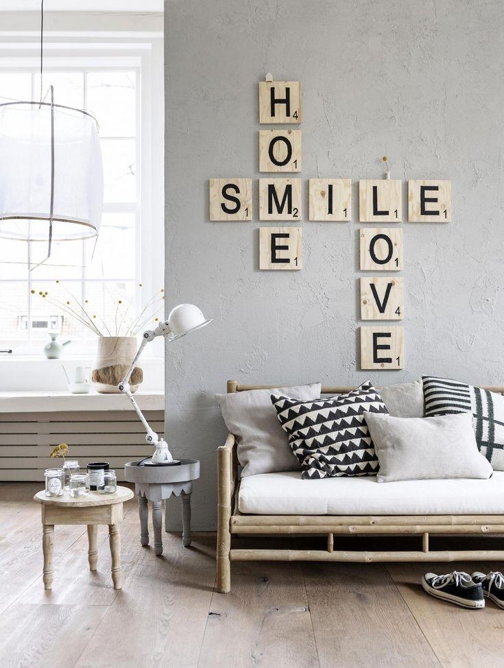 houten letters - lichte kleuren gecombineerd met hout