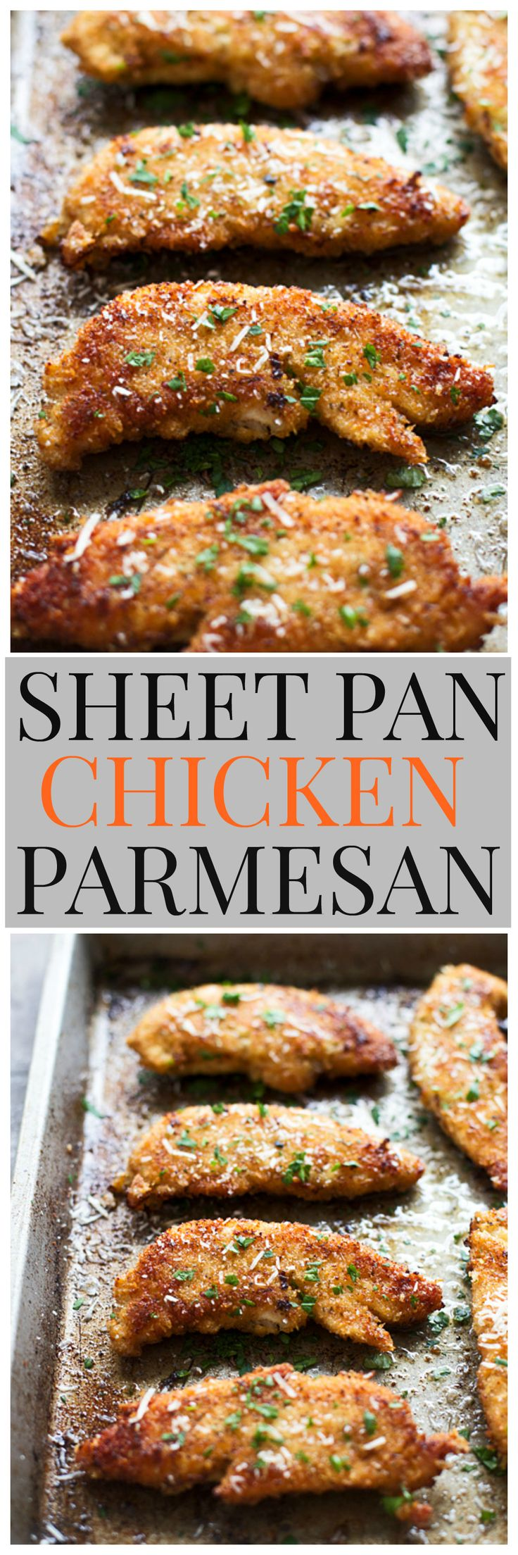 Crispy Sheet Pan Chicken Parmesan - An easy, mess-free version of a favorite chicken dinner!