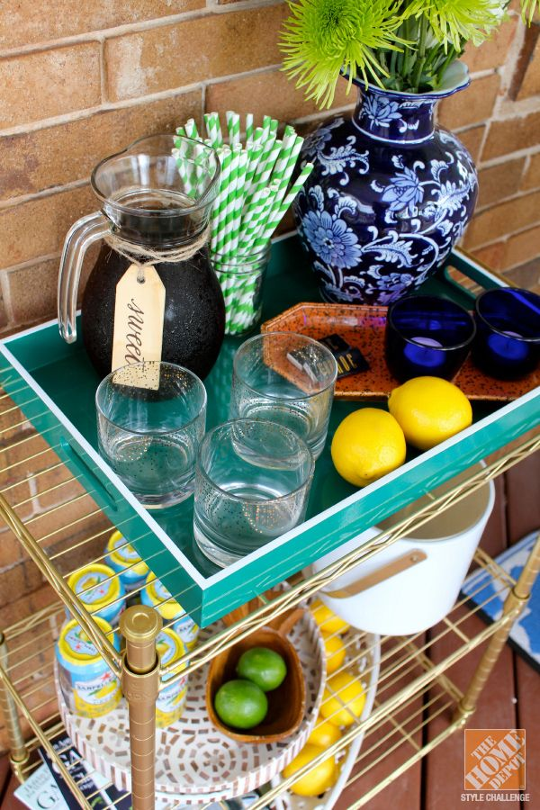 Transform a $20 shelving unit into a gorgeous gold drink station