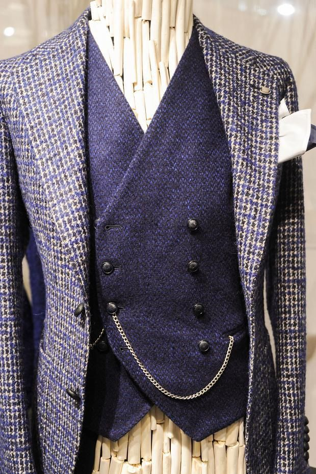 pocket watch chain (straight style), threaded through buttonhole of double-breasted vest