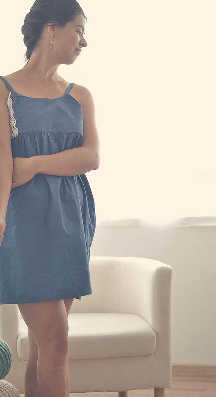 Robe dentelle bleue