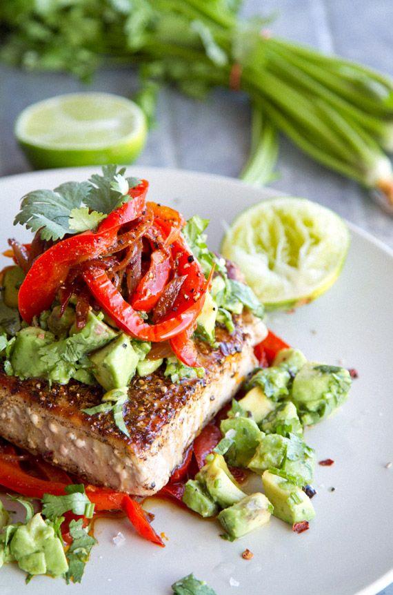 Mexican Tuna Steak, Sweet Red Peppers, Avocado & Fresh Coriander Salsa | Eat Drink Paleo - Healthy Recipes, Gluten Free, Clean Eating