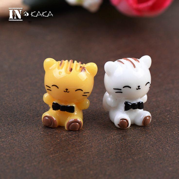 2pcs mini kawaii cats Micro fairy garden miniatures terrarium figurine doll house figures decoration toys DIY accessories
