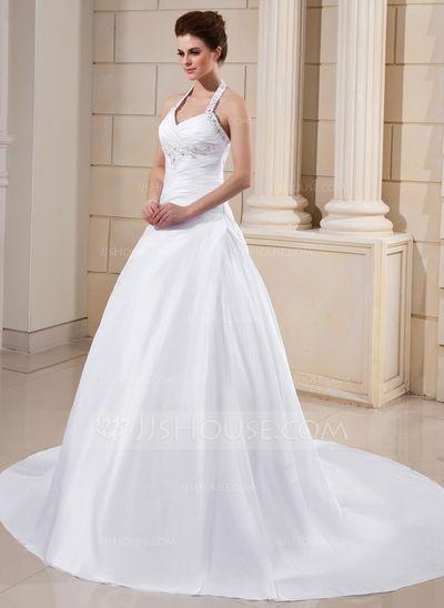 Wedding Dresses - $196.99 - A-Line/Princess Halter Cathedral Train Taffeta Wedding Dress With Ruffle Lace Beadwork (002011754) http://jjshouse.com/A-Line-Princess-Halter-Cathedral-Train-Taffeta-Wedding-Dress-With-Ruffle-Lace-Beadwork-002011754-g11754