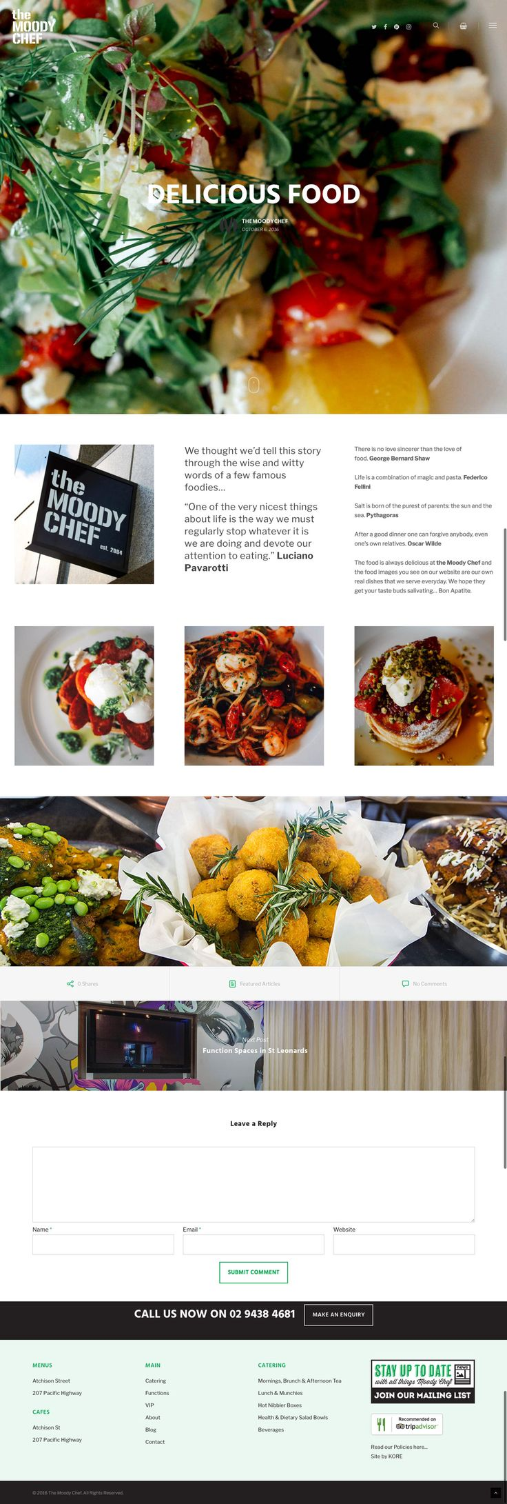 The Moody Chef's new responsive website by KORE (http://kore.digital/). Blog article web page view.