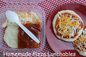 Make your own Pizza Lunchables. Use golf ball size pizza dough. Make 5 in. Round crusts. Bake 400 for 8-10 min. Store in freezer until ready to use. Pack with separate sauce, cheese and toppings. Make a whole batch and freeze or use a little bit leftover from homemade pizza night. There is a dough recipe on link.