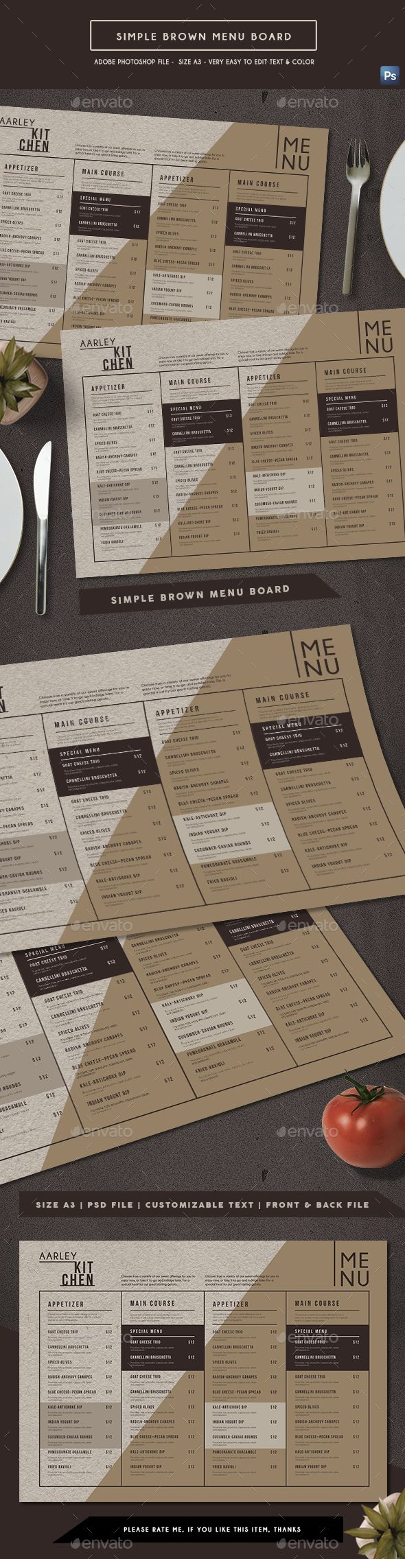 Simple Brown Menu Board #drink #menu • Download ➝ https://graphicriver.net/item/simple-brown-menu-board/21288056?ref=pxcr
