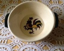 Poppytrail, Medford, California, Vernon,  Provincial, Rooster, Country, farm house, midcentury serving bowl