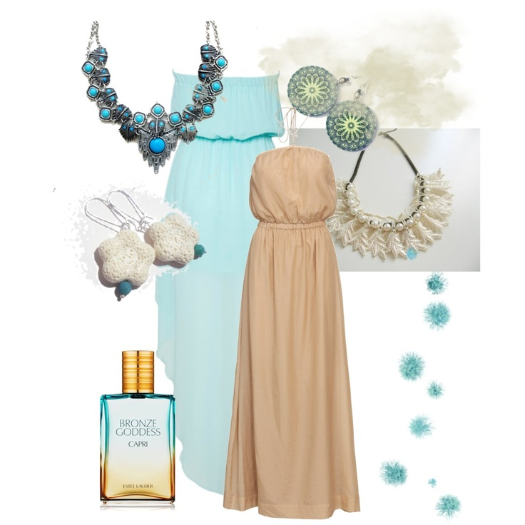 earrings: MadebyMada.etsy.com and EfzinCreations.etsy.com, blue dress: http://www.awear.com/boutique-sale/glamorous-bandeau-dip-dress/invt/00002145turquoise/?cmpid=linkshare=Hy3bqNL2jtQ-OTtScFvPYM6mV51d7_Q7Zg ice necklace: StaroftheEast.etsy.com, lacy necklace: SeleneDream.etsy.com  Ice queen by dorijanki, via Polyvore