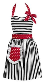 Retro Apron: Black & White Stripes with Contrasting Red Polka Dots.
