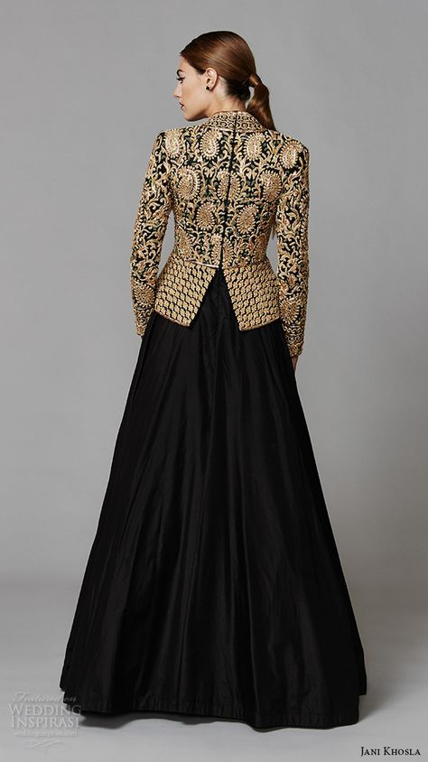 jani khosla 2015 bridal evening dress long sleeves v neck gold embroidery top black skirt a line gown zardozi back view