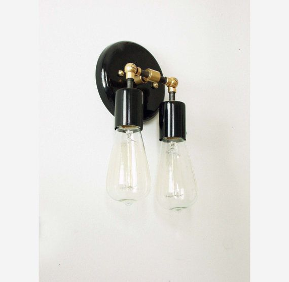 Double Modern Wall Sconce Black Brass Wall Lamp by DLdesignworks
