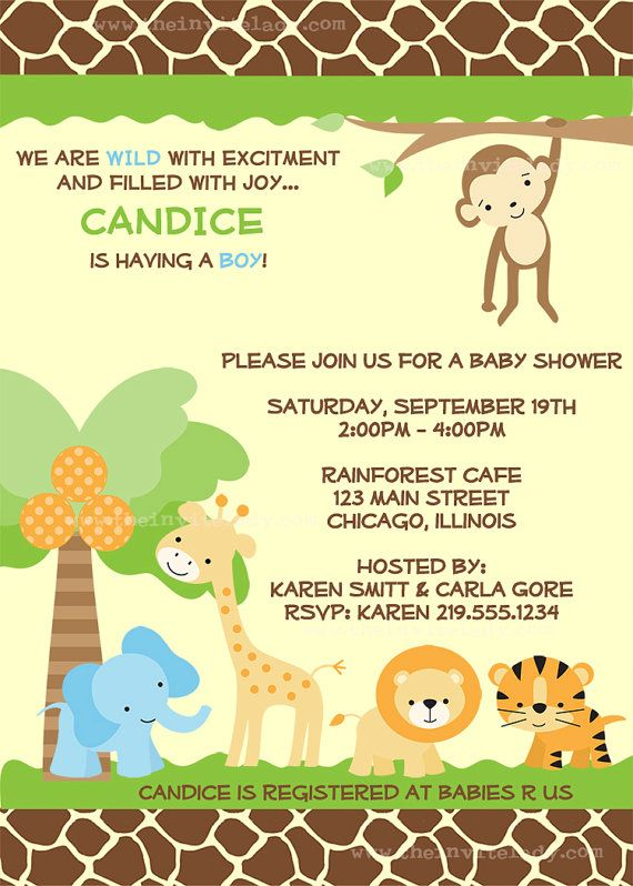 Safari Baby Shower Invitations Jungle Theme by TheInviteLadyShop on etsy.  So what this!
