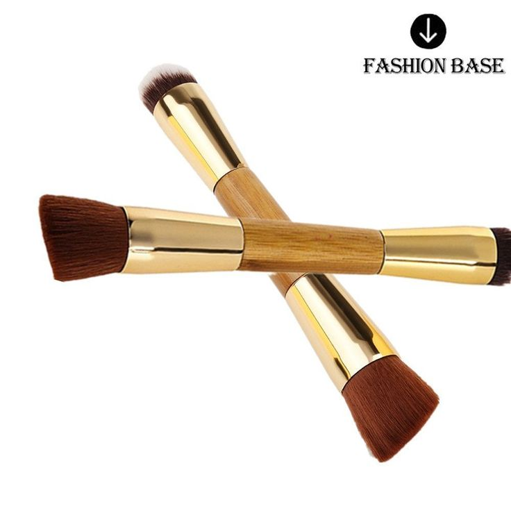 Fashion Base® Professional Double-Sided Eco-friendly Bamboo Handle Face and Body Flat and Angled Foundation Concealer Contour Buffing Brush ** More info could be found at the image url.