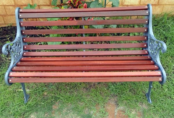 Painted wrought iron bench
