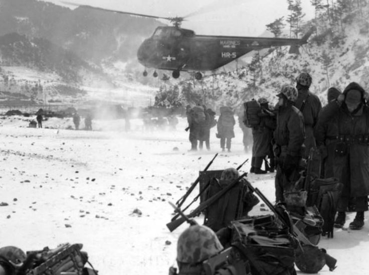 Out from the Chosin Marines evac. wounded 1950