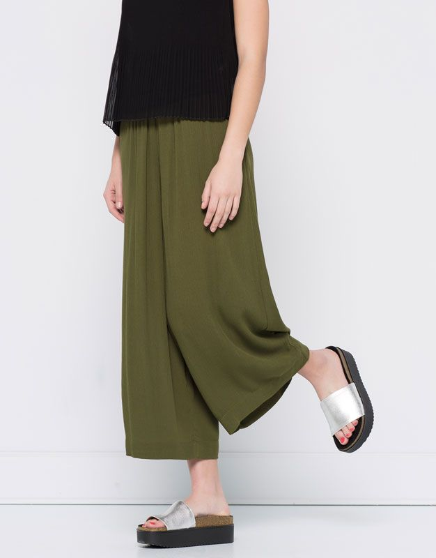 Pull&Bear - woman - trousers - cropped palazzo trousers - khaki - 05684340-V2016