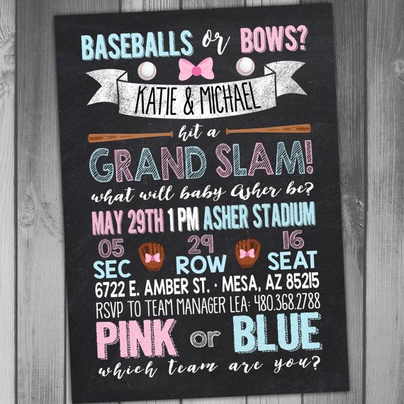 Gender Reveal Invitation Baseball Invitation by CLaceyDesign