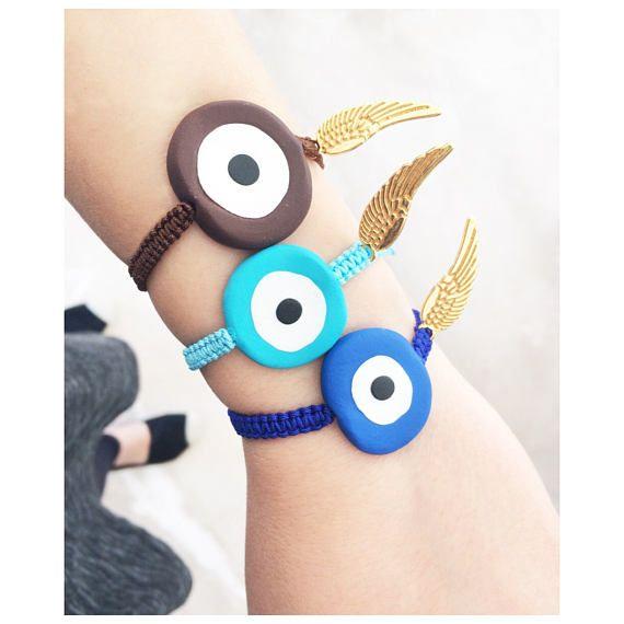 greek jewelry  evil eye bracelet polymer clay charms gold