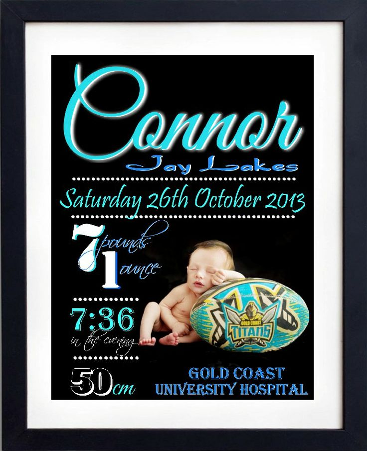 Birth announcement print for little boy.. Football, teal, blue and black.