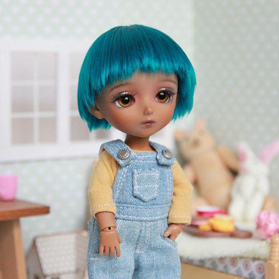 Lati yellow 5-6 wig turquoise petrol blue green short