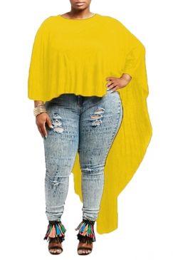 #Womens #Chic Irregular High Low Cape #Batwing #Sleeve #Tee #Shirt Yellow