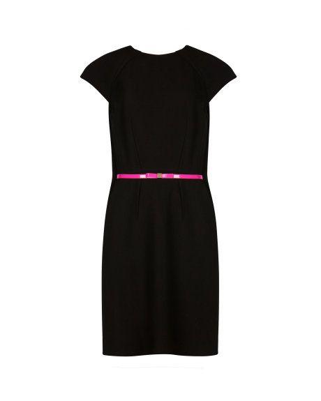 Pleated petal cape back dress - Black | Dresses | Ted Baker