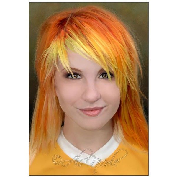 Yellow fringe. Hayley Williams Orange Hair ❤ liked on Polyvore featuring beauty products and haircare