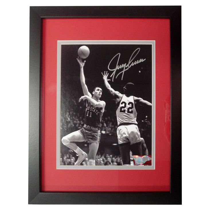 Autographed Jerry Lucas 8x10 inch framed photo.