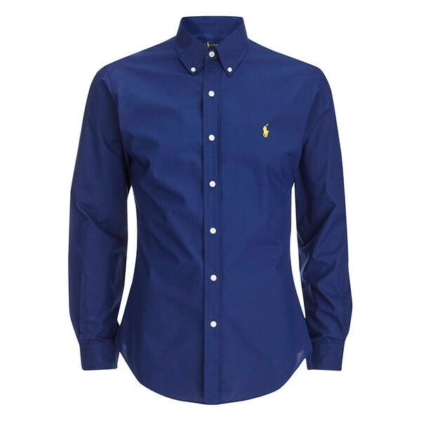 Polo Ralph Lauren Men's Long Sleeve Button Down Shirt - Soho Blue (£85) ❤ liked on Polyvore featuring men's fashion, men's clothing, men's shirts, men's casual shirts, chemise, blue, mens button down shirts, mens long sleeve polo shirts, mens long sleeve button down shirts and mens polo button down shirts