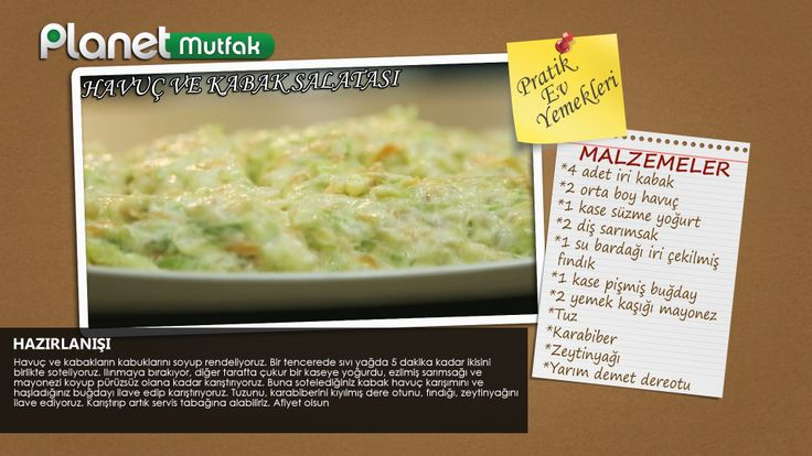 """""""Pratik Ev Yemekleri"""" programında Sevim Malkadı'nın seçtiği ve sizler için yaptığı """"Havuç ve Kabak Salatası"""" tarifi."""