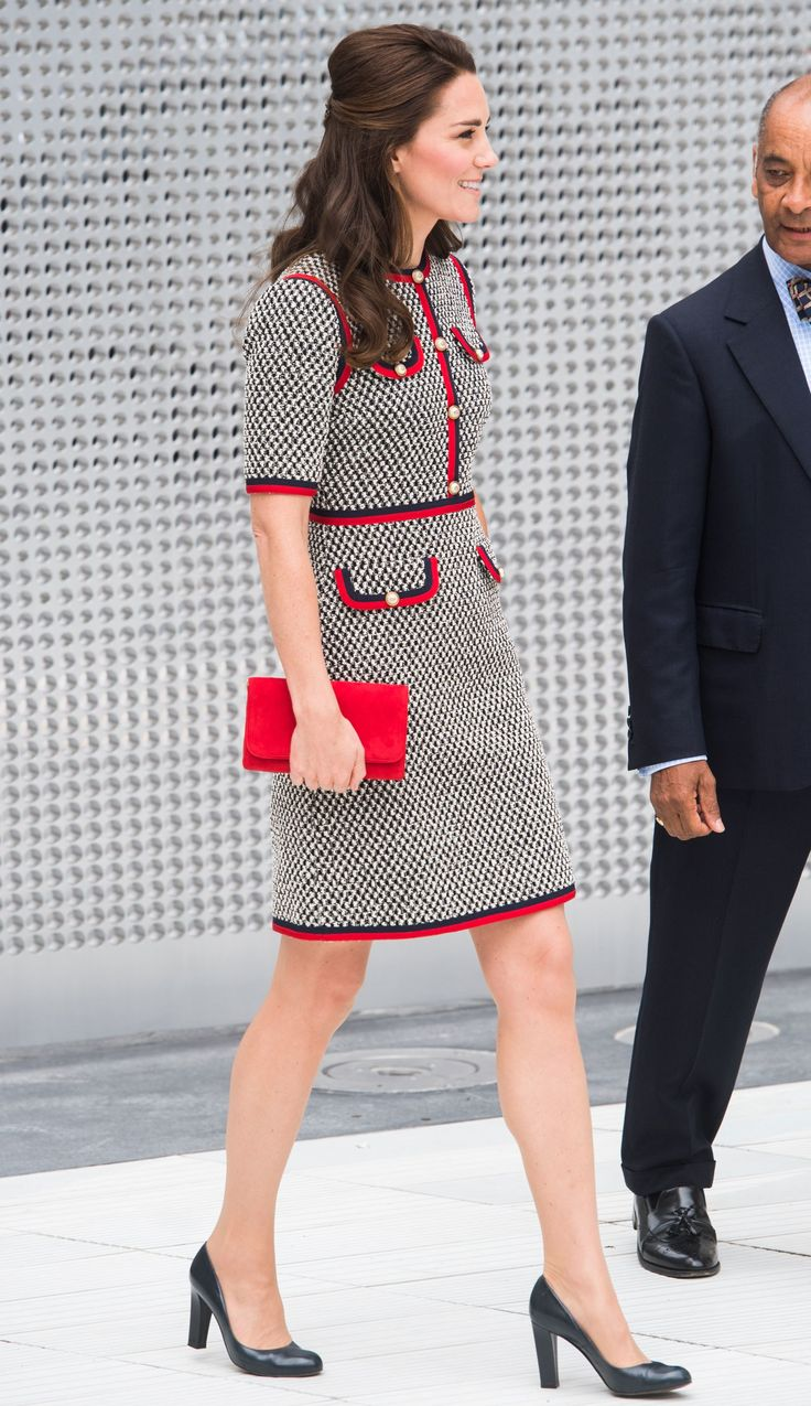 Kate Middleton at the opening of an exhibition at the Victoria & Albert Museum wearing Gucci.