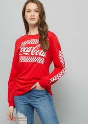 7a709a37b36 Red Coca Cola Checkered Print Oversized Graphic Tee in 2019 ...