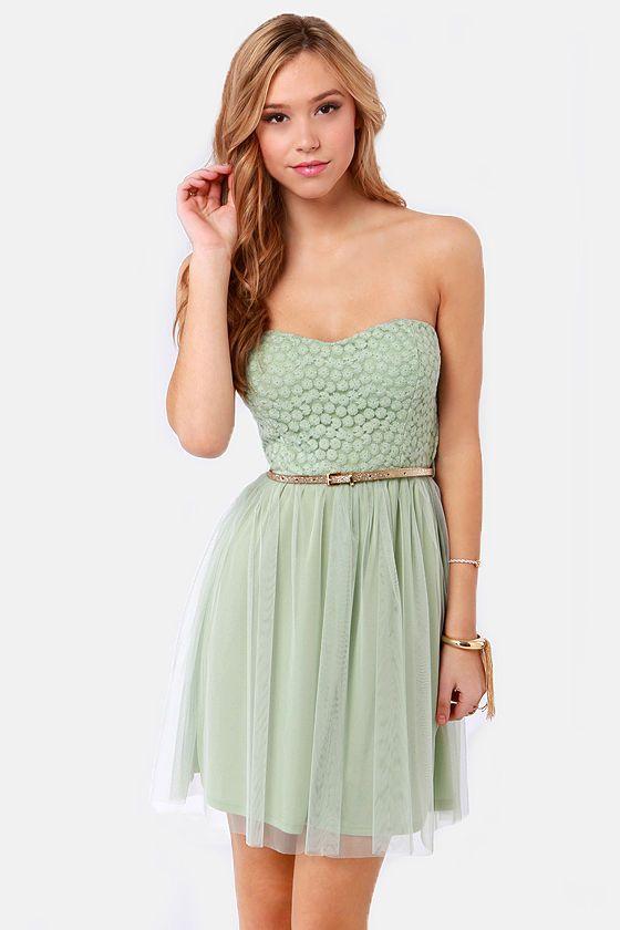 Pretty Mint Green Dress - Strapless Dress - Lace Dress - $45.00