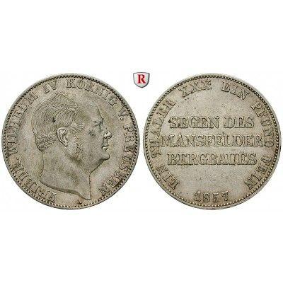 Brandenburg-Preussen, Königreich Preussen, Friedrich Wilhelm IV., Ausbeutevereinstaler 1857, ss+: Friedrich Wilhelm IV. 1840-1861.… #coins