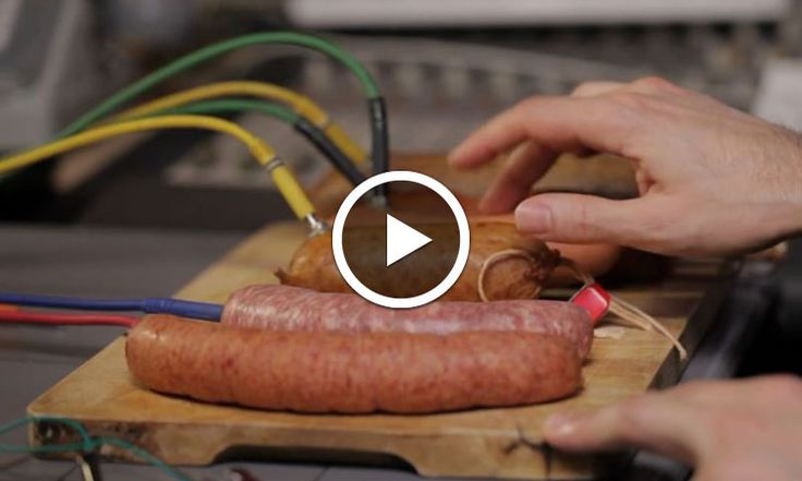 This ingenious musician composes his tubes with sausage