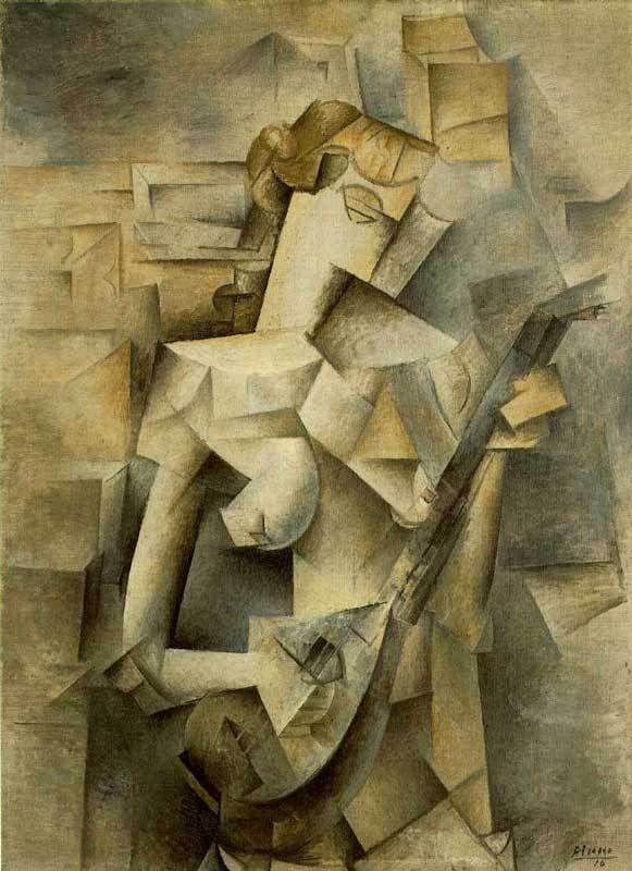 picasso- Donna con mandolino (cubismo analitico)