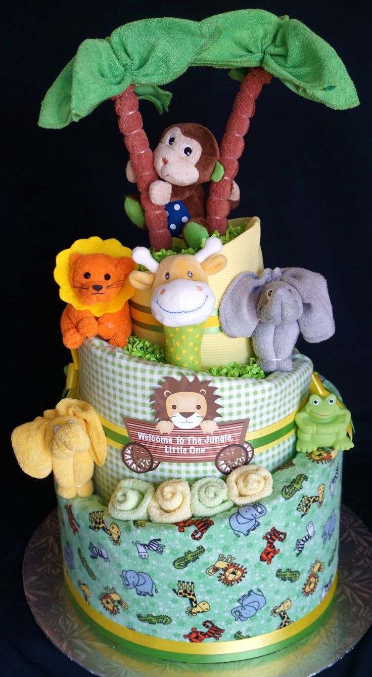 25 best ideas about jungle diaper cakes on pinterest for Diaper crafts for baby shower