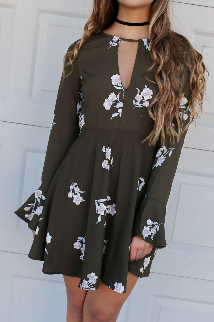 Fantasy Land Olive Floral Print Long Sleeve Flare Dress